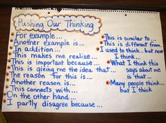 Pushing Our Thinking- (Lots of great anchor charts here!) I am not artitistic or fru fru so these basic charts are great for me. I also like how they show her use of boo boo tape to fix mistakes. 4th Grade Writing, Teaching Writing, Teaching Tips, Fourth Grade, Third Grade, Essay Writing, Writing Ideas, Reciprocal Teaching, Writing Traits