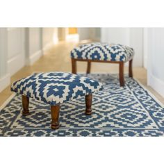 An indigo blue contemporary geometric design kilim rug  from Myakka. Fair trade. Handmade in India.