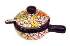 Beautiful handmade sauce server made of Talavera pottery. Original from Guanajuato, Mexico. This authentic product distinguished by a white glaze comes directly from the hands of our Mexican artisans. Every step in the process is handmade and it takes around 14 different artisans just to make one piece.