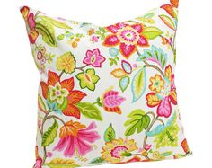 Pink Orange Floral Decorative Pillow Covers: by PillowThrowDecor
