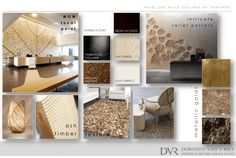Mood board showing the interior design and decoration of Contemporary African inspired hotel interiors.