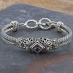 Sterling Silver 'Cawi Motif' Amethyst Bracelet (Indonesia)