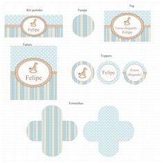 Kit digital Cavalinho de Balanço Carousel Party, Baby Kids, Baby Boy, Horse Party, Baby Shower, Sticker Design, Cupcake Toppers, Clip Art, Printables