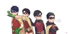 Robins. Dick Grayson, Jason Todd, Tim Drake, and Damian Wayne.