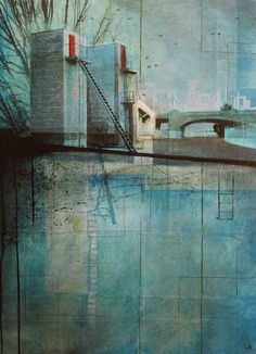 Gateway by Liz Brizzi Abstract City, Collage Illustration, Urban City, Heart Art, Urban Landscape, Photomontage, Contemporary Artists, Printmaking, Fine Art Prints