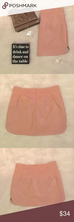 Pink Faux Leather Mini Skirt Size Large (Tag says XL but is a true Large) Pink Faux Leather Mini Skirt. Buttery soft and a perfect length. New & Unworn in perfect condition without flaws.   All items come from a smoke free home and are shipped on the same or following day an order is placed.   Reasonable offers are considered and often accepted. Deals on bundles are also available. Skirts Mini