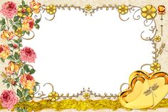 Large Transparent Gold Frame with Flowers​ | Gallery Yopriceville - High-Quality Images and Transparent PNG Free Clipart