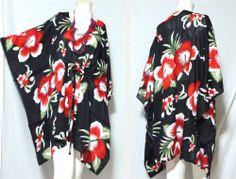 vtg HIPPIE BOHO thai kimono kaftan tent tunic hibiscus floral cover mini dress Thailand Fashion, Maxi Pants, Thai Style, Beach Dresses, Kaftan, Hibiscus, Hippie Boho, Tent, Kimono