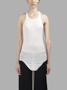 RICK OWENS Rick Owens Women'S White Rib Tank Top. #rickowens #cloth #tank tops
