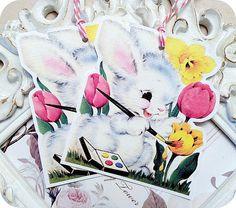 NEW  Retro Bunny Artist Tags  Set of 6  by LittlePaperFarmhouse, $5.95