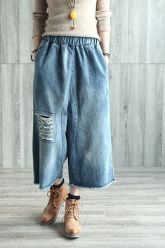Vintage Linen Casual Pants For Women Loose Trousers Denim On Denim, Wide Leg Denim, Wide Leg Pants, Knit Pants, Linen Pants, Denim Romper, Denim Overalls, Casual Pants, Inspired Outfits