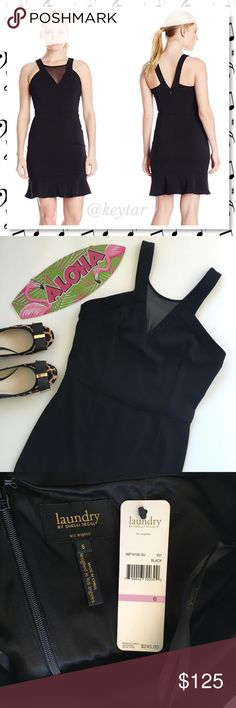 """NWT Laundry Shelli Segal Black Mesh Sheath Dress Your new favorite LBD. An illusion neckline and ruffled hem add flirty personality to this versatile stretch-woven dress. Perfect for any holiday party, Date night, mother of the bride or any time you need a go to LBD. Coach shoes sold separately.  ⚡️37"""" length. ⚡️Back zip closure Laundry by Shelli Segal Dresses"""