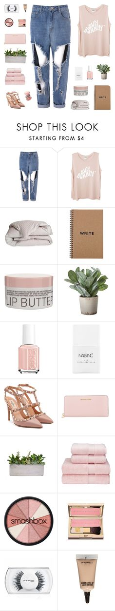 """""""today i swear i'm not doing anything"""" by my-pink-wings ❤ liked on Polyvore featuring Glamorous, DOWNLITE, Korres, Torre & Tagus, Essie, Nails Inc., Valentino, MICHAEL Michael Kors, Christy and Smashbox"""