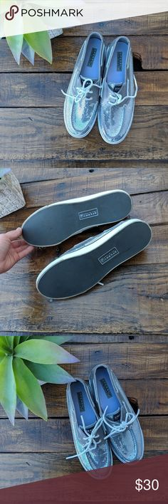 Silver Sequin Sperry TopSider Shoes Fantastic condition silver sequin Sperry shoes, perfect for the summer! Sperry Shoes Flats & Loafers