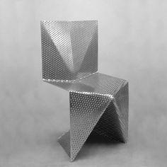 alu, aluminium, folded plate, origami, perforated, stackable chair, tlf03, tobias labarque
