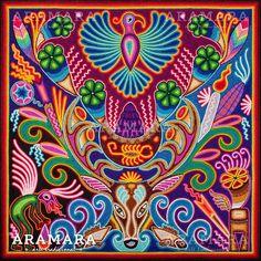 Mexican Wall Art, Mexican Artwork, Mexican Paintings, Mandala, Art Chicano, Huichol Art, Yarn Painting, Mexico Art, Aztec Art