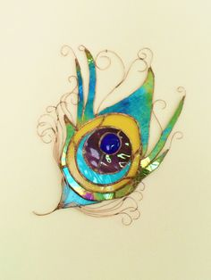 Peacock Feather Stained Glass Sun Catcher Art Glass and Copper Wire Hand Made in the USA by charlottechamplin on Etsy https://www.etsy.com/listing/468977915/peacock-feather-stained-glass-sun