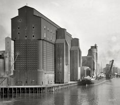 "Buffalo, New York, circa 1910. ""Canal harbor and elevators."""