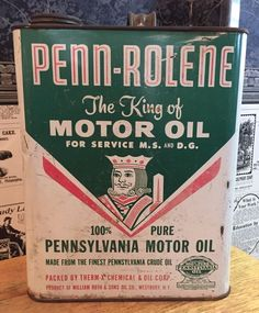 2 U.S. Gallons - Empty. 100% Pure Pennsylvania Motor Oil. Product Of William Roth & Sons Oil Co. - Westbury, N.Y.