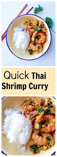 Thai Shrimp Curry Stir-Fry, Goong Pad Pong Karee, is full of heart-warming flavors of fresh shrimp, bright yellow curry, egg and kale with jasmine rice, and what makes it even more amazing is it takes less than 30 minute from prep to finish! Easy and quick week night meal, in LOVE! | thai-foodie.com