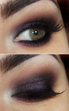 Dark purple make-up for green or hazel eyes