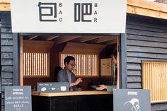BAO's revered buns are back for good as London Fields' Netil Market mainstay BAO Bar Netil Market returns. Tokyo Restaurant, Restaurant Menu Design, Restaurant Interiors, Kiosk Design, Signage Design, Display Design, Bao Bar, Bao London, Food Stall Design