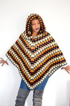 8589520ef4f8f Hooded Poncho  Crochet hooded Poncho  Hooded by Africancrab Hooded Cloak