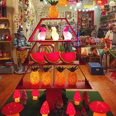 Fantastic display of Heico lamps - Fantastik Bazar boutique, Barcelona, Spain.