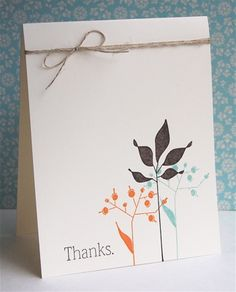 Simple thank you. Choc Chip, orange, Pool Party w twine on Very Vanilla. Pretty fall color card.