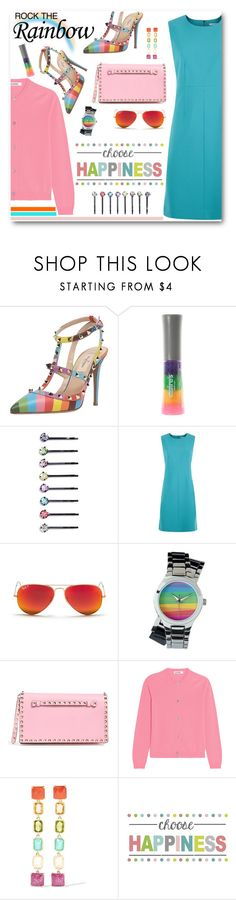 """""""Rainbow Style"""" by brendariley-1 ❤ liked on Polyvore featuring Valentino, Cara, Diane Von Furstenberg, Ray-Ban, Jil Sander, Ippolita, WallPops, women's clothing, women's fashion and women"""