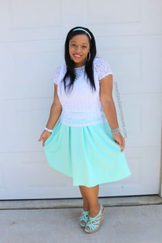 white lace lize claiborne top (jcpenney) and mint skirt modest outfit idea