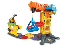 VTech Go! Go! Smart Wheels Learning Zone Construction Site. Enhance your child's creativity with Go! Go! Smart Wheels toddler toys; kids build their own interactive construction toy and race vehicles around the race track for maximum fun. Race track toy has 5 SmartPoint locations to trigger sounds and phrases; press the infant learning toy excavator's light-up button to learn the letter E and the vehicle name. Drop the 3 shape pieces in the shape sorter and rock sorter; toddler toy builds...