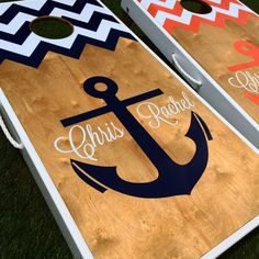 Nautical Anchor Monogram Cornhole Board Set Copy on Etsy, $215.00