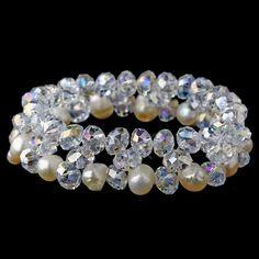 Clear Aurora Borealis & Pearl Bracelet 8519 Silver Ivory Aurora Borealis