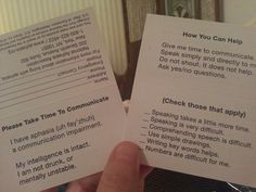 Wallet Communication card- aphasia.org June is #AphasiaAwarenessMonth