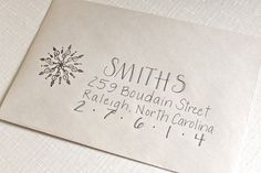 Wedding card font addressing envelopes New Ideas Addressing Envelopes, Card Envelopes, Christmas Envelopes, Christmas Cards, Holiday Cards, Arabesque, Envelope Art, Envelope Writing, Event Themes