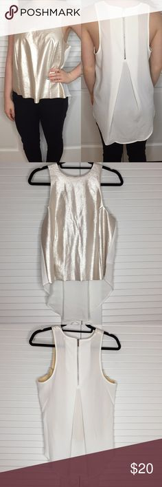 NWOT Silence + Noise Hi/Lo Tank in Gold/White NWOT Silence + Noise Hi/Lo Tank in Gold/White. Gold metallic front and white chiffon semi sheer back with silver zipper. Great top for a night out or even New Years. Urban Outfitters Tops Tank Tops
