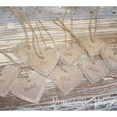 Gold glitter and Kraft card heart shaped placecards Gold Invitations, Gold Glitter, Heart Shapes, Arrow Necklace, Place Cards, Jewelry, Gold Save The Dates, Jewlery, Jewerly