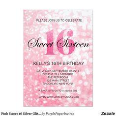 Pink Sweet 16 Silver Glitter Lights Invitation Pink Trendy Sweet 16 Birthday Gold Glitter Lights