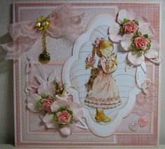 Marjan's scrapkaarten Sara Kay, Kids Cards, 3 D, Shabby Chic, Delicate, Greeting Cards, Girly, Fancy, Scrapbook Layouts