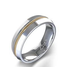 Unique High Polish Channel Men's Wedding Ring in 14k Two Tone White Gold