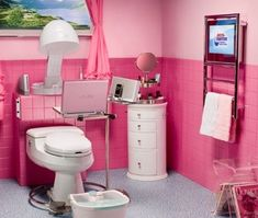 Innovative PINK Bathroom. Watch TV, Get your hair done,Check out Pinterest on your laptop, get a pedicure and listen to music... AT THE SAME TIME.