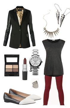 Fall Fashion #3 sticking with my fave colour scheme: Black White Red! 1. Leather sleeved blazer 2. burgundy skinnies 3. dark grey studded basic tank 4. silver watch 5. two tone loafers 6. knuckle ring 7. silver spike statement necklace 8. silver birdskull earrings (that apparently cost more than my rent D;) 9. neutral Eyeshadow 10. dark burgundy lip