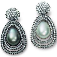 Hemmerle pearl and diamond earrings