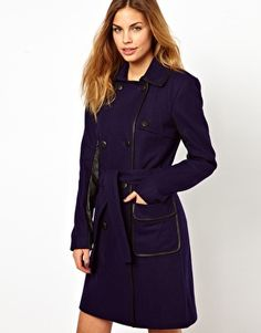 Gestuz Military Style Brigade Coat with Contrast Panels
