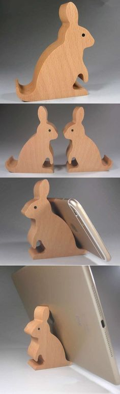 Wooden Rabbit Shaped Mobile Phone iPad Holder Stand
