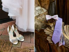 Beautiful wedding shoes and our custom designed neckwear. We worked with this lovely bride and her groom on their custom Groom & Groomsmen's Neckties: Violet Shirting & Liberty Floral Print. Let us know if we can help custom design your perfect wedding accessories. Weddings@generalknot.com