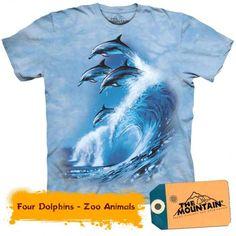 Tricouri The Mountain – Tricou Four Dolphins Zoo Animals, Dolphins, Mountain, 3d, Mens Tops, T Shirt, Tee, Tee Shirt