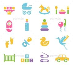 Simple Children Toys and Accessories Icons