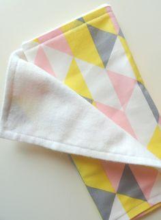 Baby Burp Cloths - Geometric Pink Grey